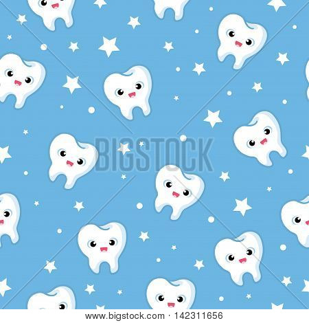 Vector seamless illustration with merry teeth on a blue background. Children s illustration on the theme of dentistry. The pattern of teeth.