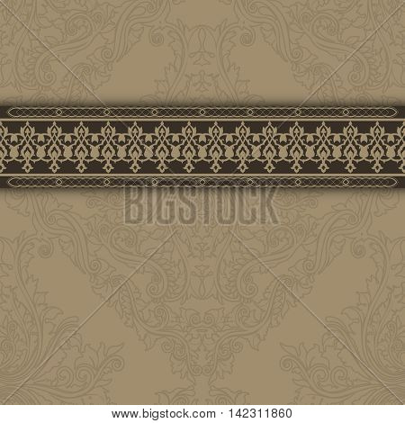 Decorative vintage background with old-fashioned patterns and ornate border.