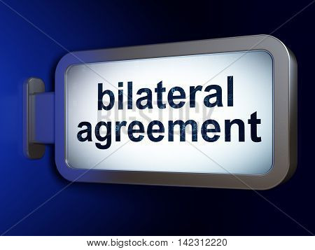 Insurance concept: Bilateral Agreement on advertising billboard background, 3D rendering