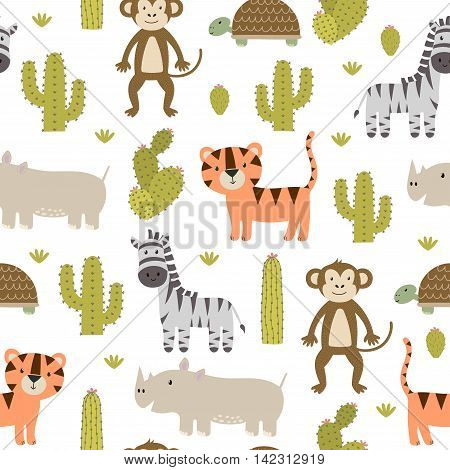Cute safari animals seamless pattern with tiger, zebra, monkey, rhinoceros and turtle. Vector texture in childish style great for fabric and textile, wallpapers, web page backgrounds