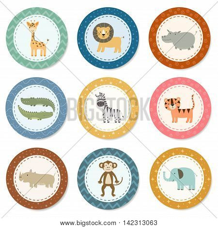 Stickers collection with cute safari animals. Great for baby shower and kids design. Giraffe, lion, hippo, crocodile, zebra, tiger, rhinoceros, monkey and elephant. Vector illustration