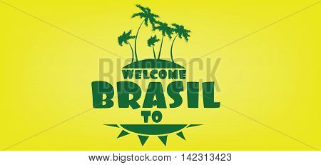 Welcome to brasil card with an island and palm trees over yellow background in outlines. Digital vector image