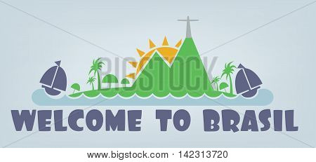 Welcome to brasil card with sun boat and palm trees over silver background in outlines. Digital vector image