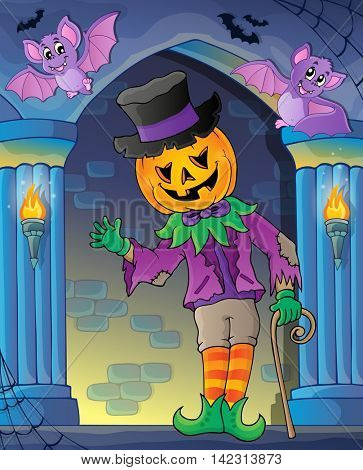 Wall alcove with Halloween figure - eps10 vector illustration.