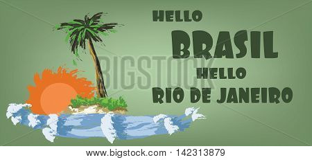 Hello brasil card with palm trees sun and water design over green background in outlines. Digital vector image
