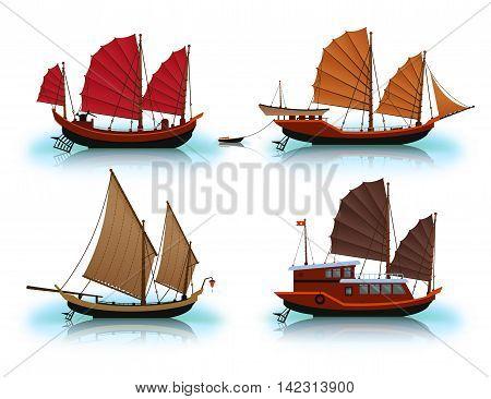 Junk boat Halong Bay Vietnam junk. Vector illustration