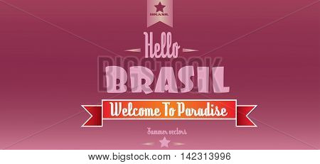 Hello brasil card with stars over burgundy background in outlines. Digital vector image
