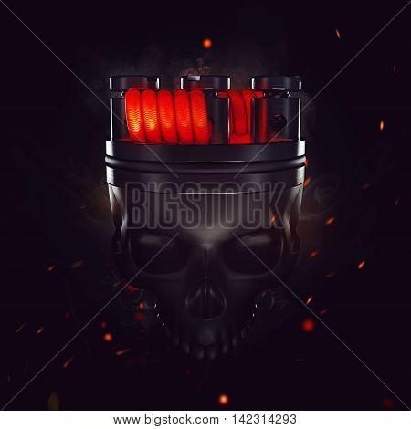 King of vape. Red crown on his head. Just Vape or Die Skull. Tactical Vape Grand Opening Vape Party. 3d render