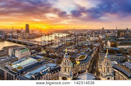 Beautiful sunset over central London with famous landmarks, shot from top of St.Paul's Cathedral - England, UK