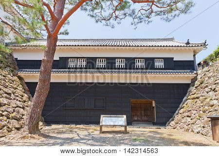 KOCHI JAPAN - JULY 19 2016: Tsumemon (Guardroom) Gate (circa 18th c.) of Kochi castle Shikoku Island Japan. Kochi is one of only 12 survived castles in Japan