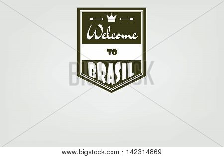 Welcome to Brasil card with crown and arrows over white background in outlines. Digital vector image