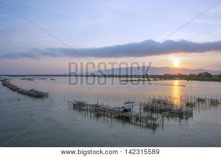 fisherman village at Laem Sing estuary in a morning