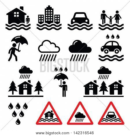 Flood, natural disaster, heavy rain icons set