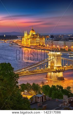 Budapest Hungary Sunset Panorama of Budapest Hungary with the Chain Bridge and the Parliament.