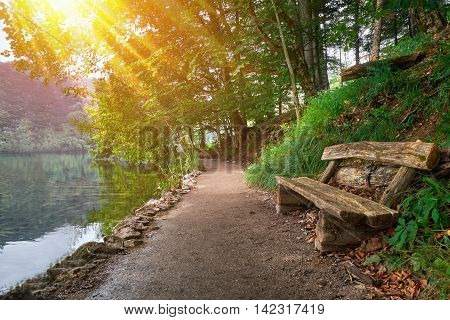 Forest Bench Near the Lake in Plitvice Croatia National Park with sun rays.