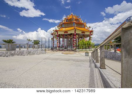 Chinese hall with blue sky at Koh Loi Sri Racha Thailand