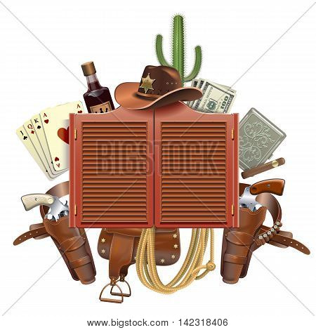 Vector Cowboy Saloon Concept isolated on white background