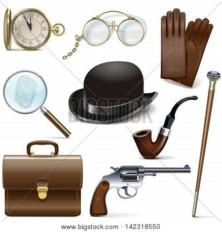 Vector Detective Icons isolated on white background