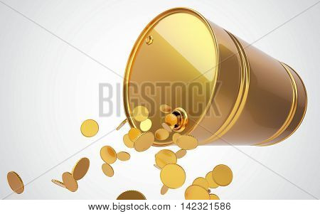 Golden barrel with coins. 3D render. Concept. Brent, WTI. OPEC