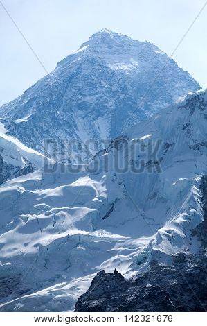 Evening view of summit of mt. Everest from Kala Patthar Solu Khumbu Nepal.