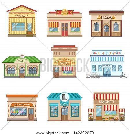 Commercial Buildings Facade Design Set Of Colorful Detailed Stickers In Cartoon Manner Flat Vector Illustrations Isolated on White Background