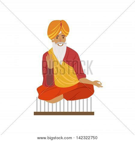 Indian Yogi Sitting On Nails Country Cultural Symbol Illustration. Simplified Cartoon Style Drawing Isolated On White Background