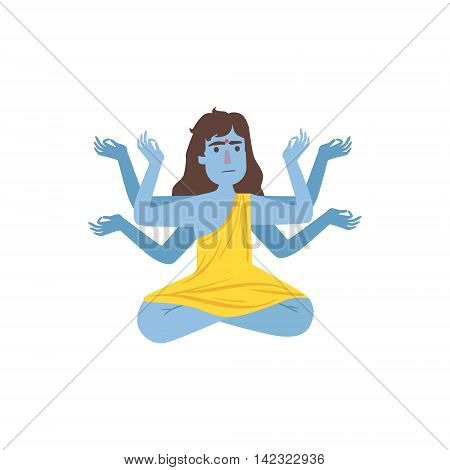 Blue Skinned Kali Goddess With Many Arms Country Cultural Symbol Illustration. Simplified Cartoon Style Drawing Isolated On White Background