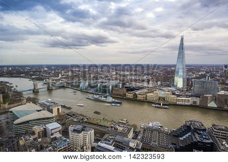England, UK - Skyline view of London with Shard building, Tower Bridge, HMS Belfast and other famous landmarks