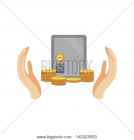 Bank Safe And Money Protected By Two Palms Flat Vector Illustration. Insurance Case Clipart Drawing In Childish Cartoon Style.