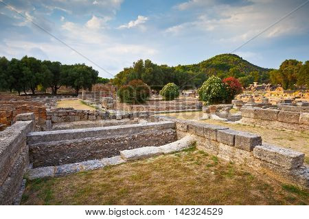 Leonidaion in the archaeological site of Ancient Olympia.