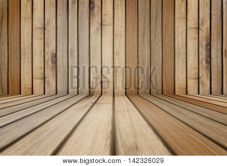 wooden room perspective for background or used for display or present products wooden floor and wall background