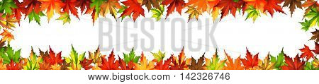 border frame autumn leaves isolated on white 10eps