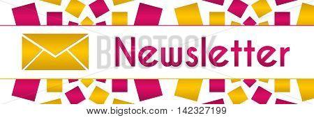 Newsletter text written over pink golden background.