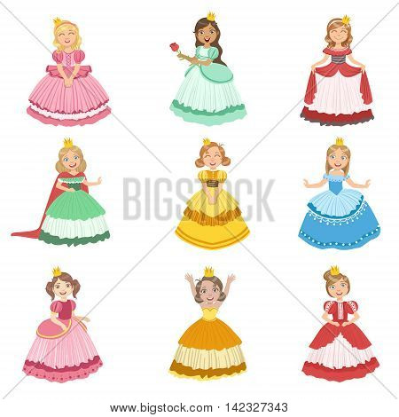Little Girls Dressed As Fairy Tale Princesses Set Of Cute Flat Characters In Bright Colored Clothes Isolated On White Background