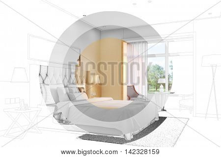 Developement and planning of bedroom with CAD wireframe mash and 3D Rendering