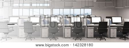 Modern office gradient with computers drawn in CAD and rendered in 3D (3D Rendering)