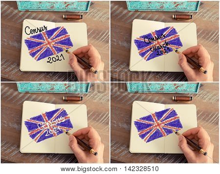 Photo Collage With Census 2021 United Kingdom Concept
