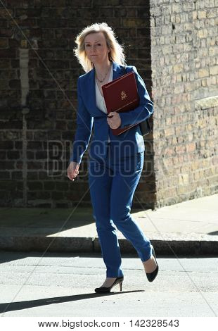 LONDON, UK, MAY 3, 2016: Liz Truss MP seen arring for a cabinet meeting in Downing Street