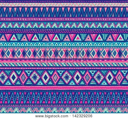 Colorful vector seamless pattern with hand drawn ethnic elements. Blue, pink colors. Geometric design with stripes. Folk motif for print, web, textile, wrapping paper