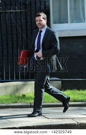 LONDON, UK, MAY 3, 2016: Stephen Crabb MP seen in Downing Street for the weekly cabinet meetings in London