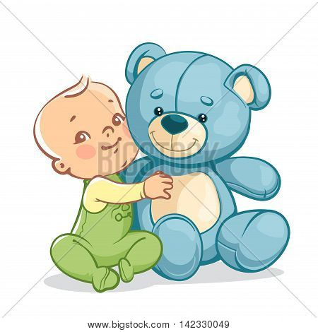Child With Big Blue Teddy Bear