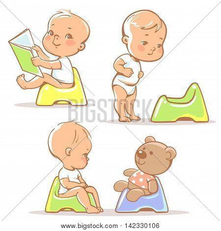Toilet Training. Baby Sitting On Potty.