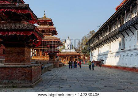 KATHMANDU, NEPAL - CIRCA APRIL 2013: Kathmandu Durbar Square is a UNESCO World Heritage Site. Several buildings collapsed during the 2015 Nepal earthquake.