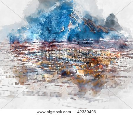 Petropavlovsk-Kamchatsky cityscape and Koryaksky volcano. Far East Russia. Digital watercolor painting