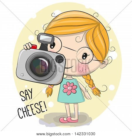 Cute cartoon Girl with a camera on a cheese background