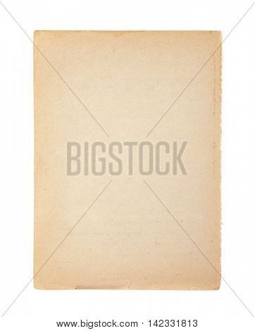 Old and dirty sheet of paper isolated on white with clipping path