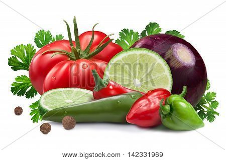Ingredients For Salsa Roja Sauce, Clipping Paths