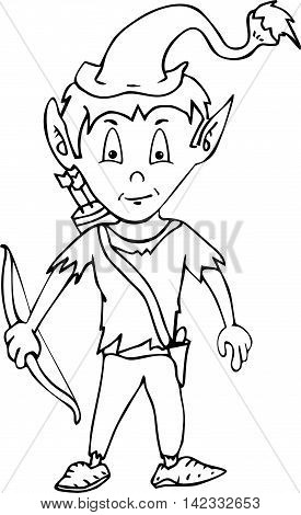 Cartoon happy smiling garden gnome elf or pixie man with a pointy hat and beard