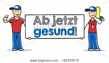 Cartoon fitness trainer with German sign