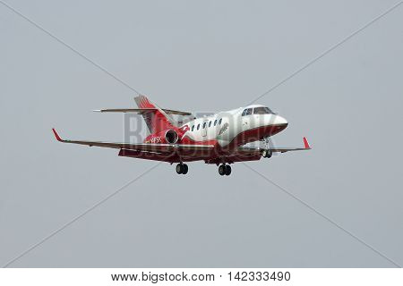 Kiev Ukraine - April 14 2012: Hawker 900XP Business Jet is landing in the airport